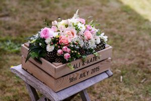 rustic wedding floral display