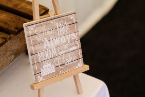 rustic wedding cake sign