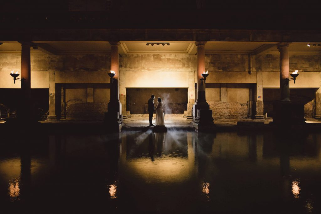 Elizabeth & Patrick roman baths wedding setting view