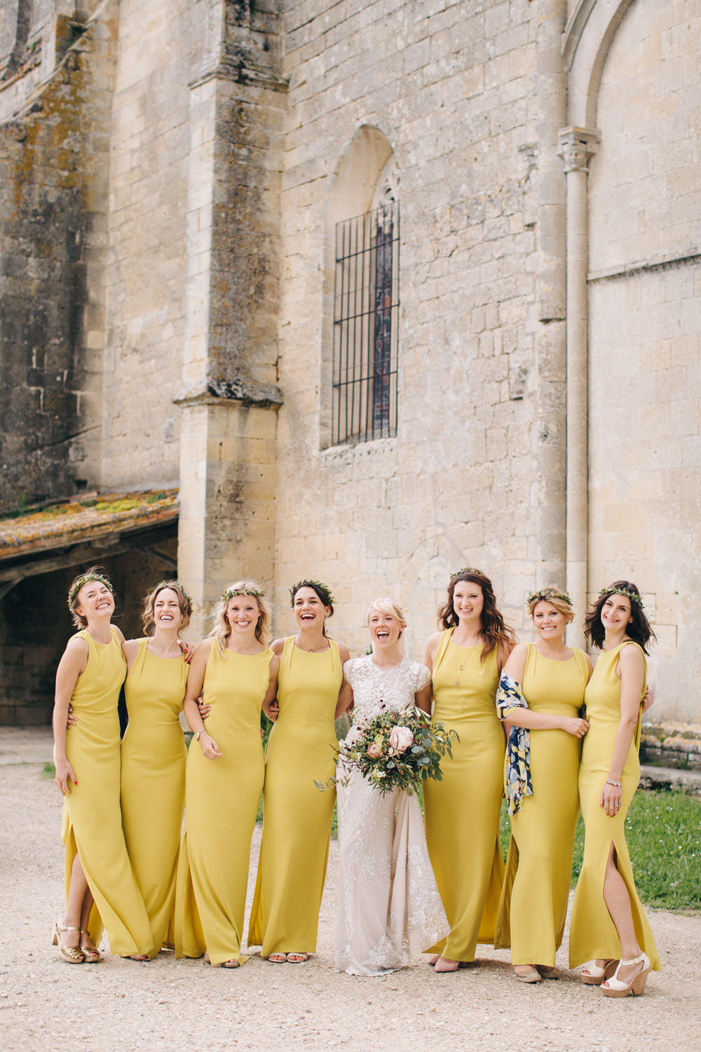 mustard yellow wedding bride and bridesmaids