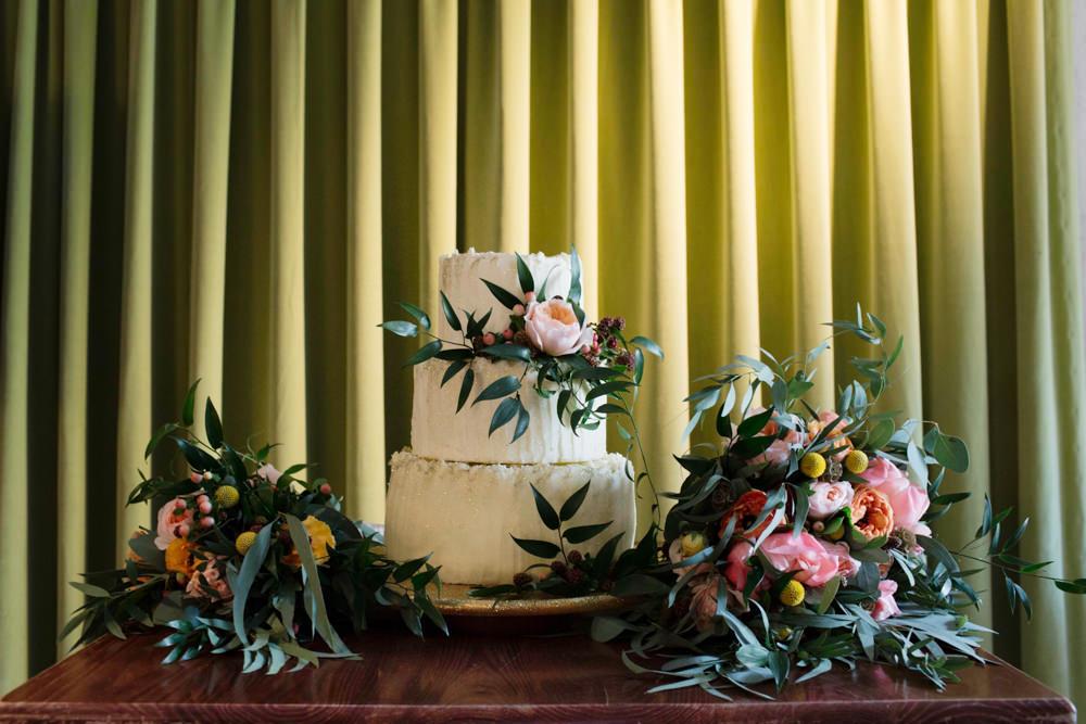 Warehouse wedding cake styling