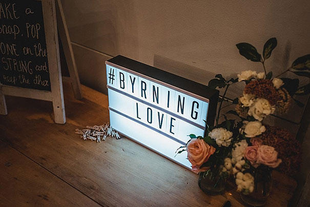 romantic industrial lightbox sign