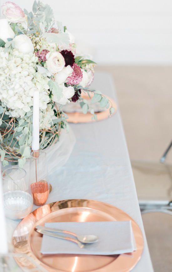 colour schemes copper and grey table setting
