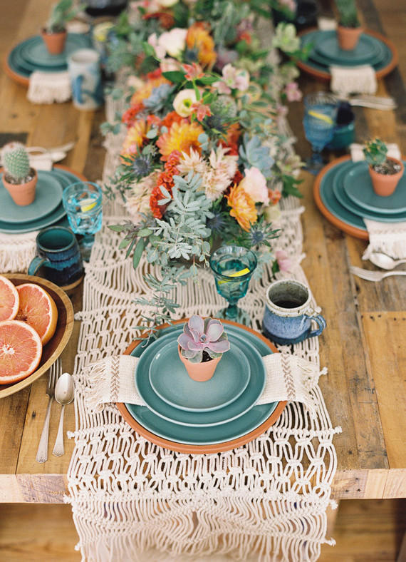Coachella Festival Wedding succulent table display