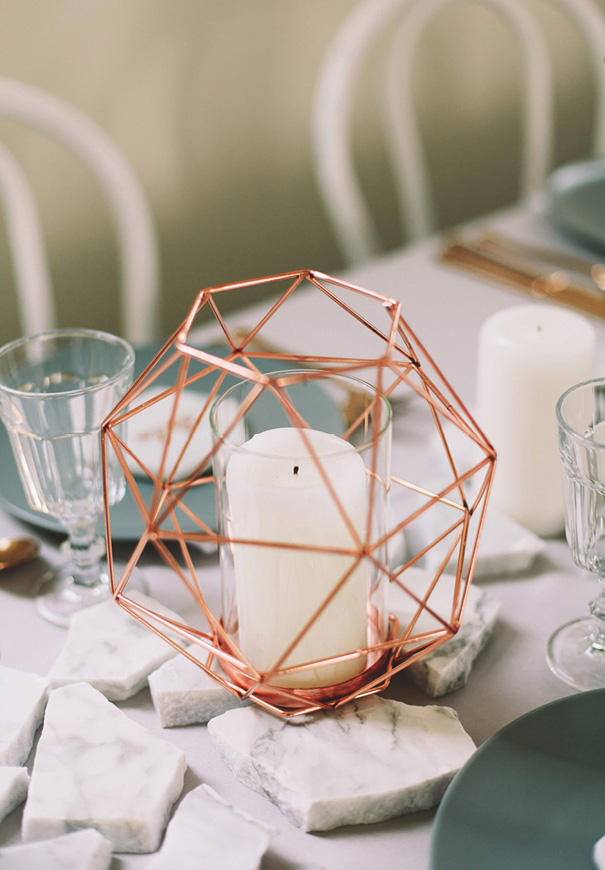 marble wedding trend table styling with copper