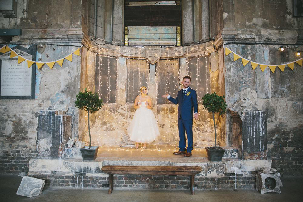 mustard yellow wedding stage