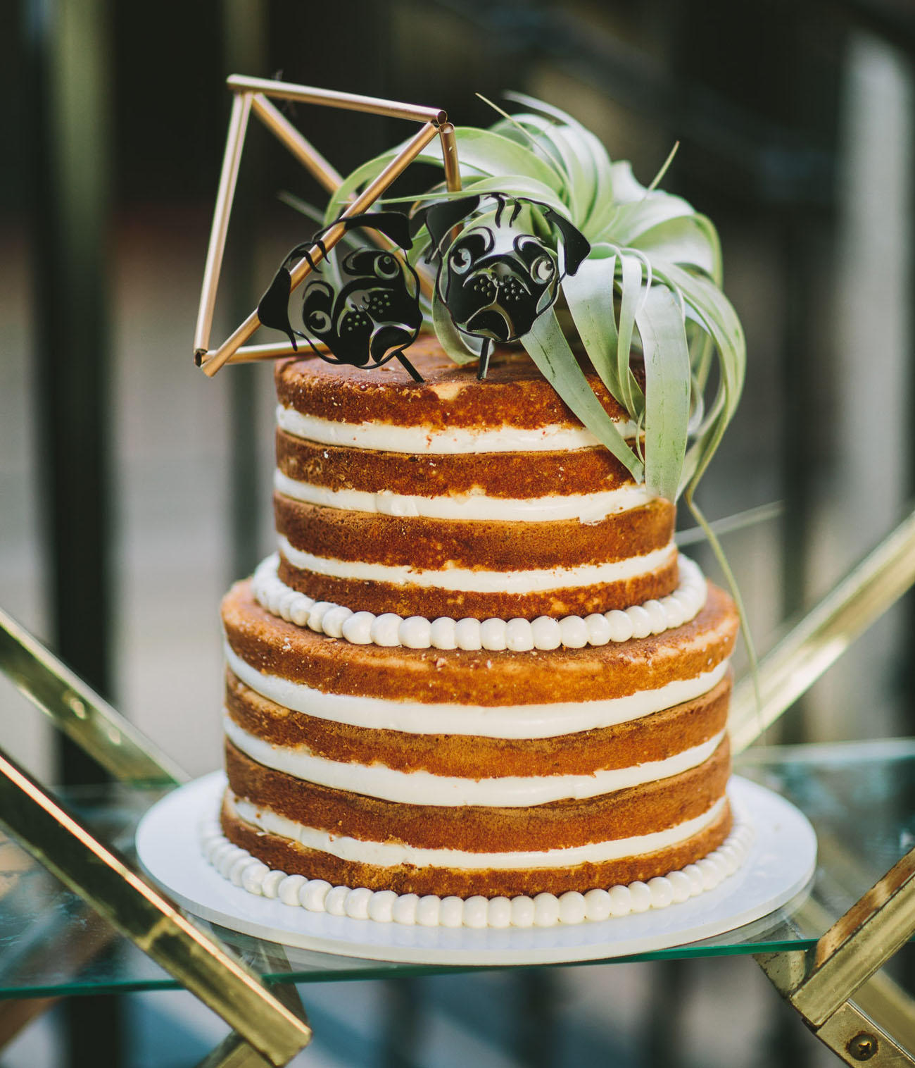 naked sponge wedding cake