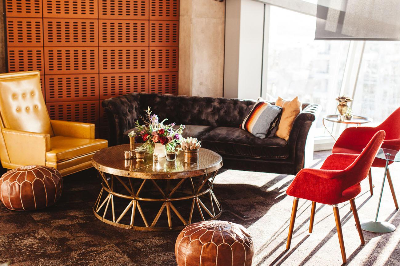 Boho wedding lounge area idea