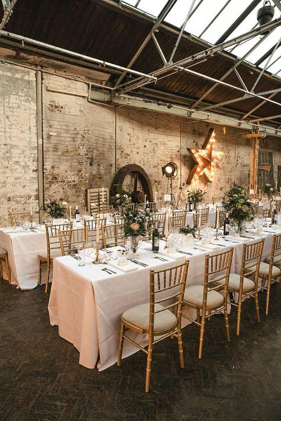 Warehouse wedding set up