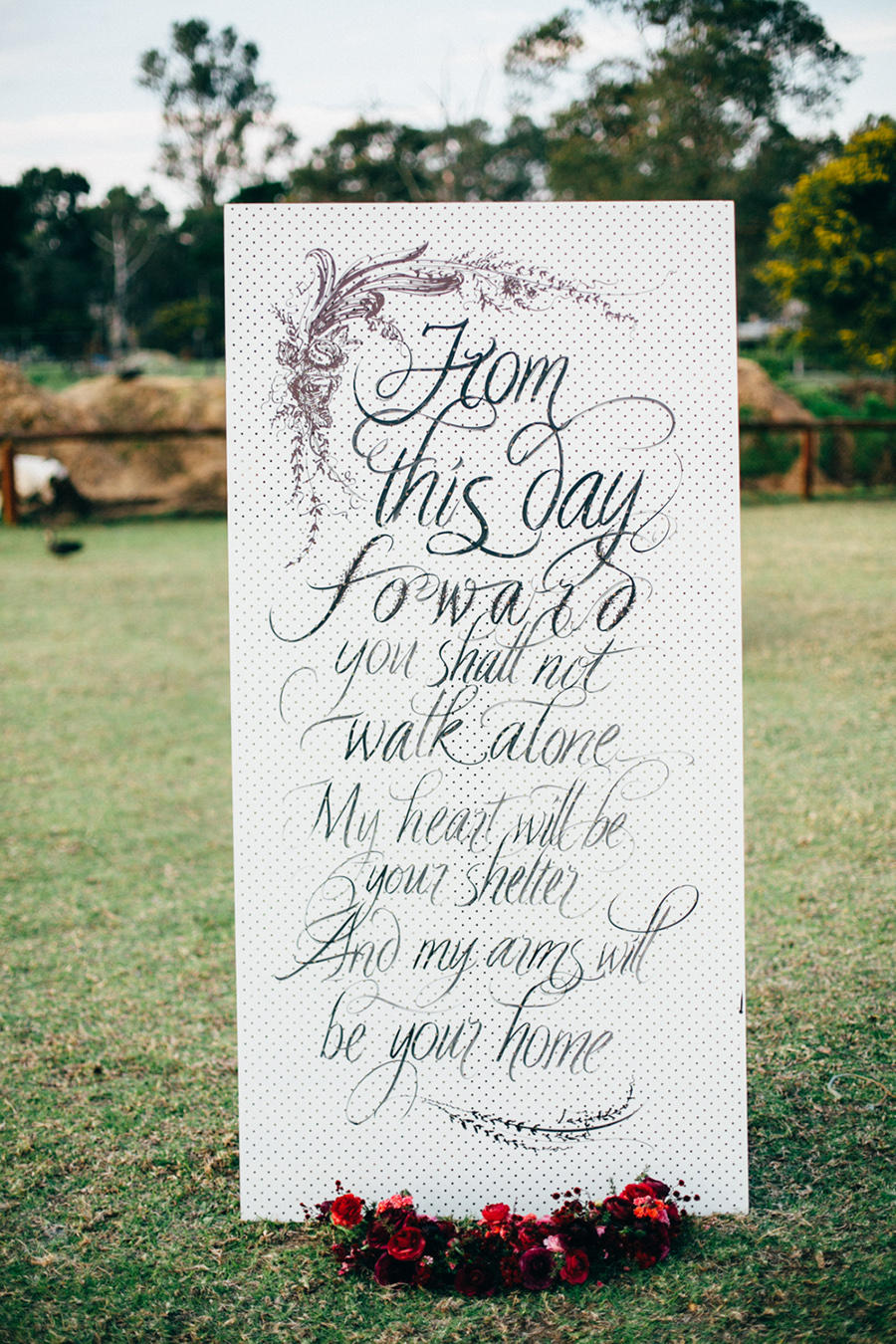 monochrome wedding signage