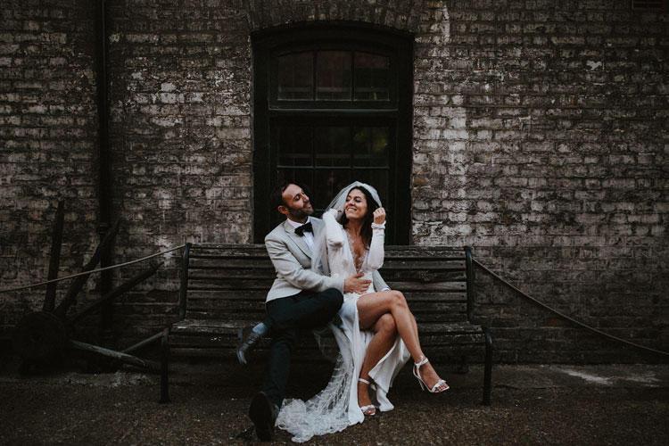 Urban chic wedding styling shot