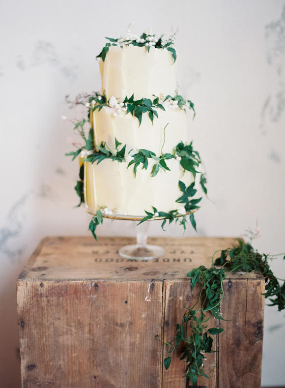 industrial wedding chic greenery 3 tier cake