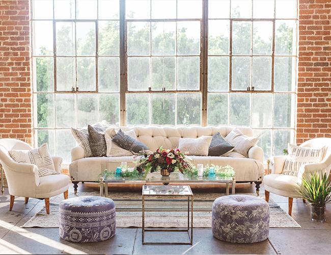 Wedding Lounge Area calico sofa and chairs