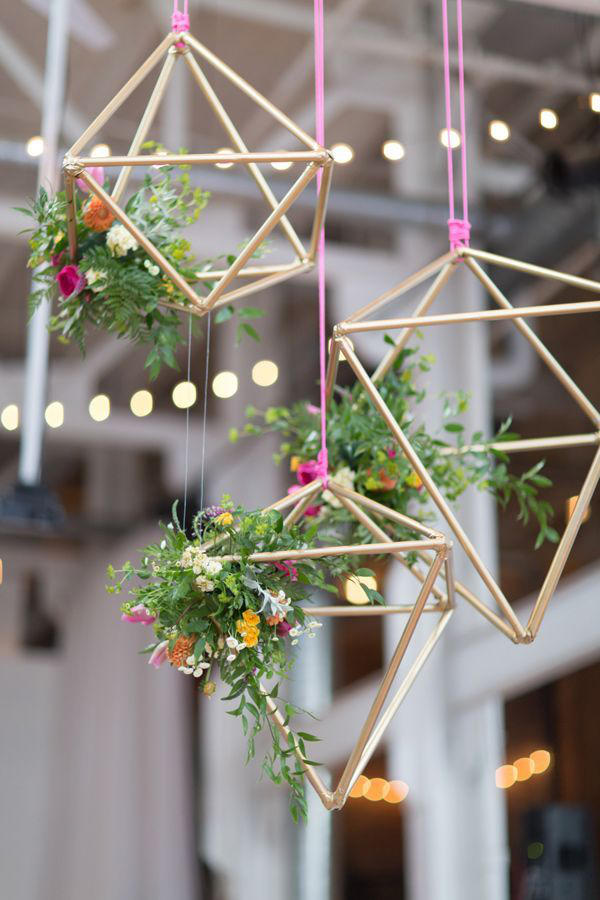 hanging geometrics for warehouse wedding