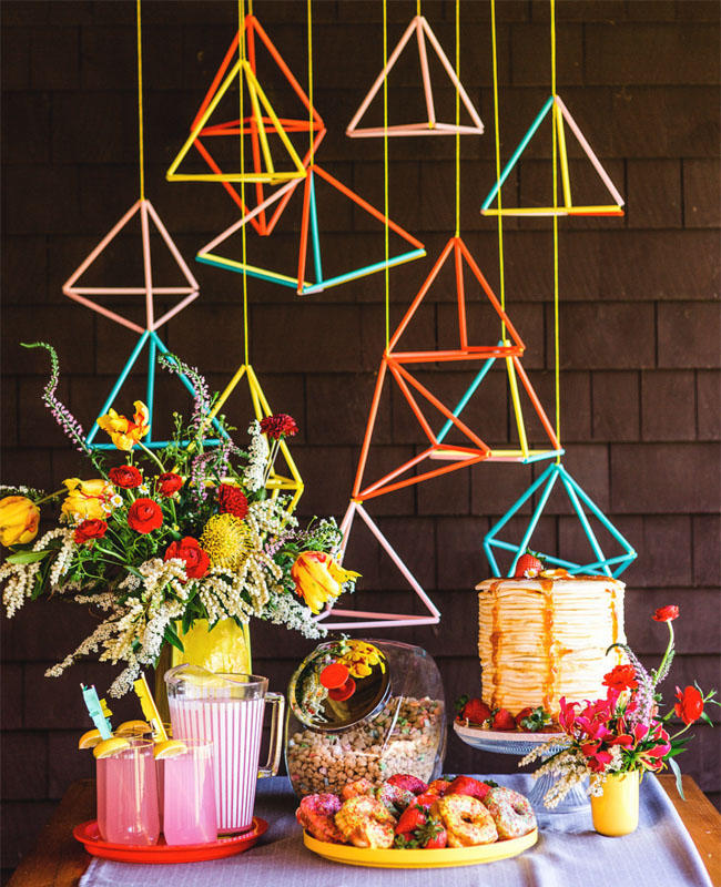 geometric wire colourful wedding hanging installation