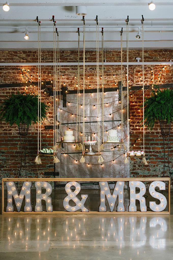winter wedding mrs and mrs styled display