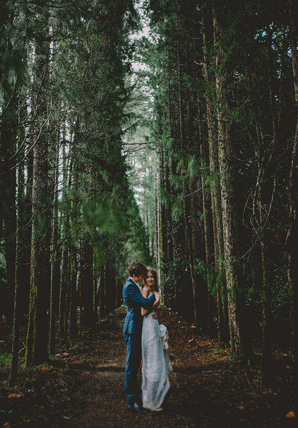 forest green wedding bride and groom