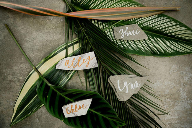 tropical wedding leaves display idea