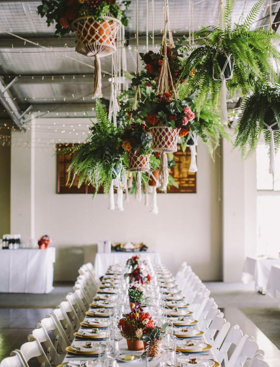 tropical wedding macrame hanging pots
