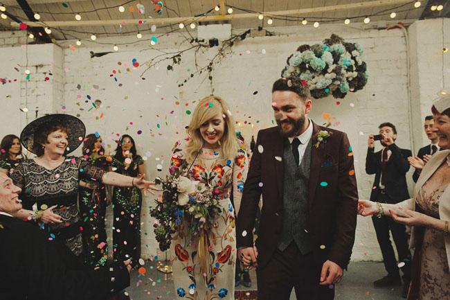Warehouse wedding confetti scene