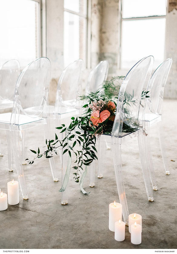romantic industrial wedding seating