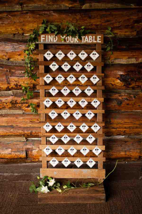 wedding seating plan rustic styling
