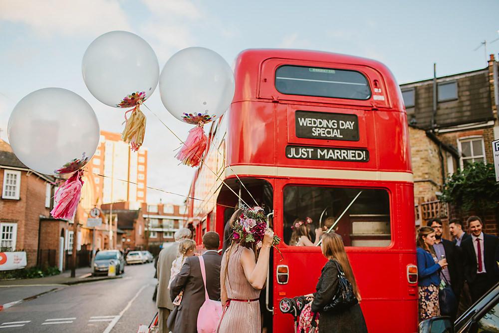urban wedding London bus