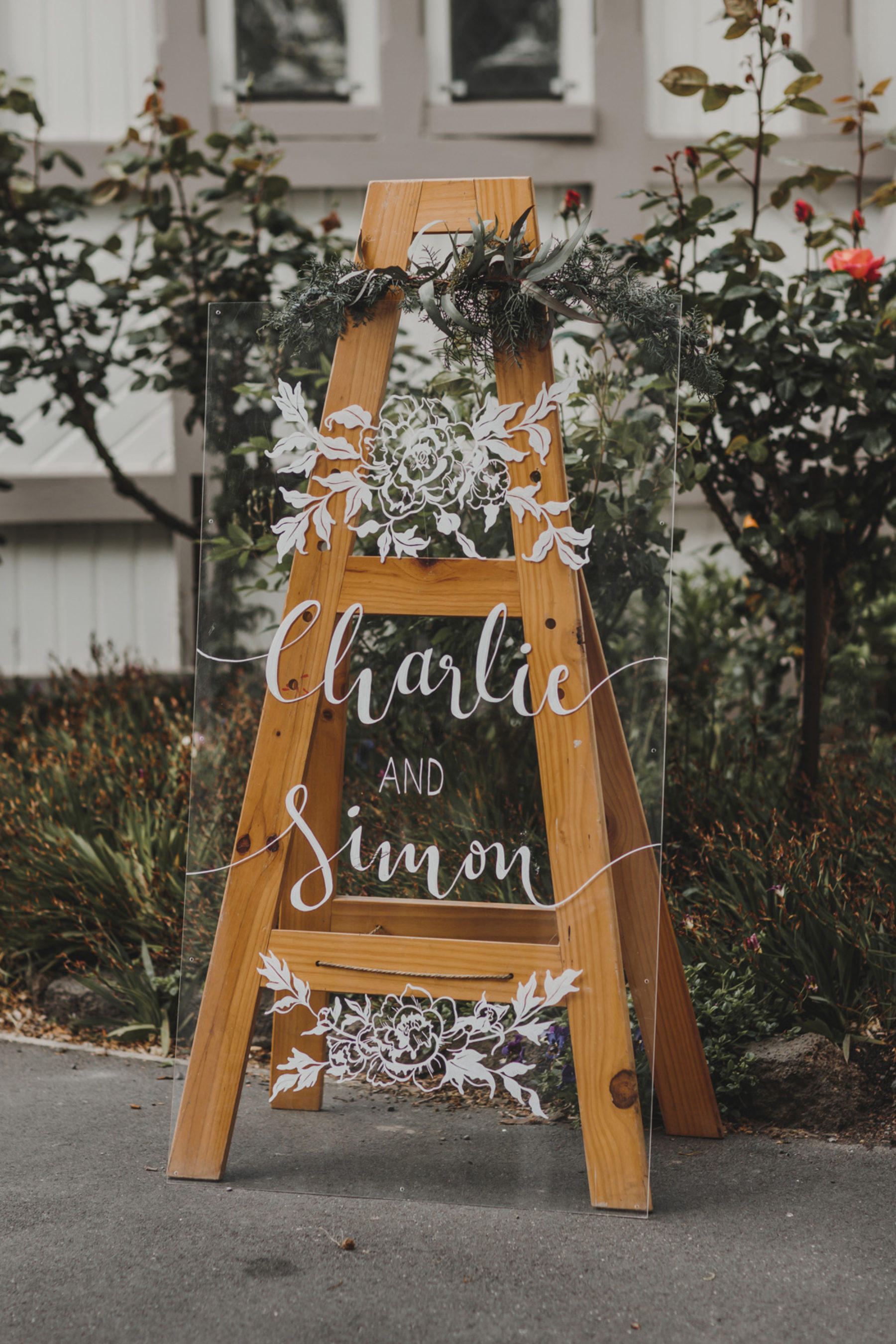 Wedding acrylic sign on easel
