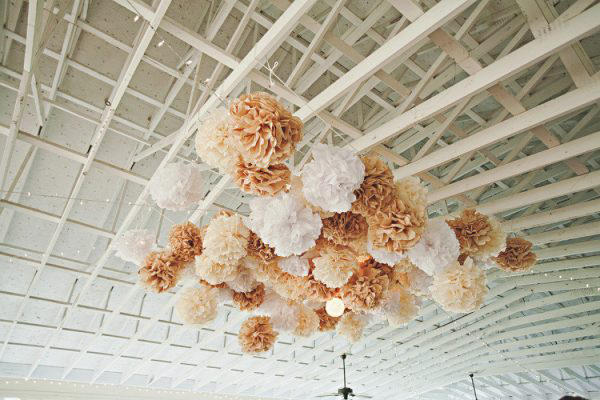 Wedding dance-floor paper pompom style idea