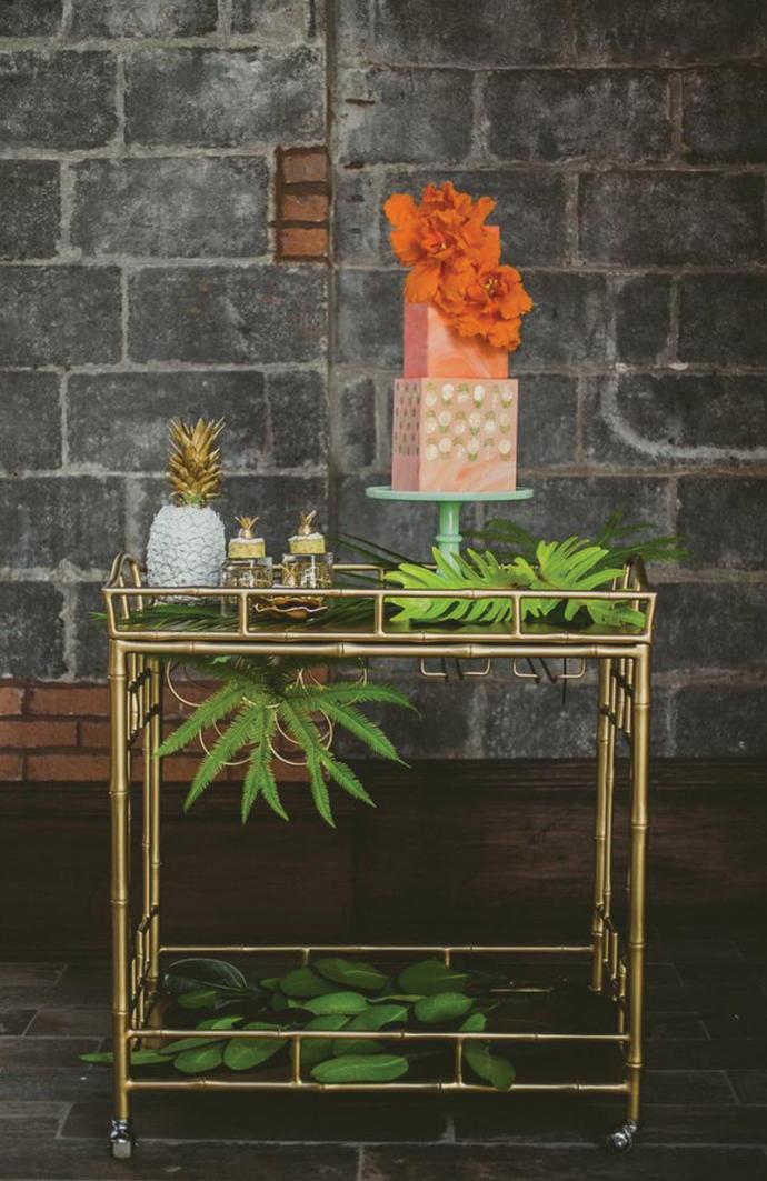 tropical wedding cake styling