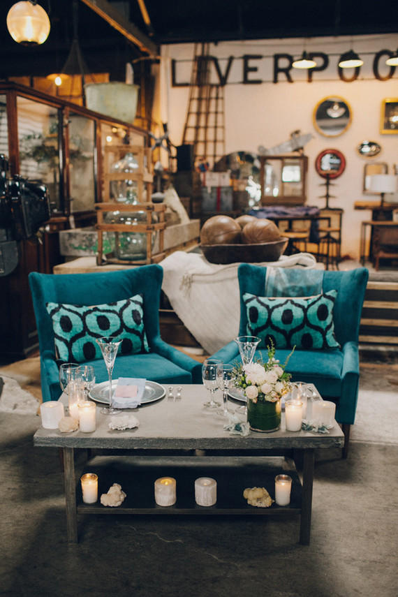 teal and copper wedding lounge area styling