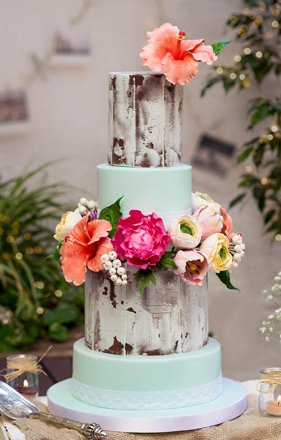 show-stopper mint floral wedding cake