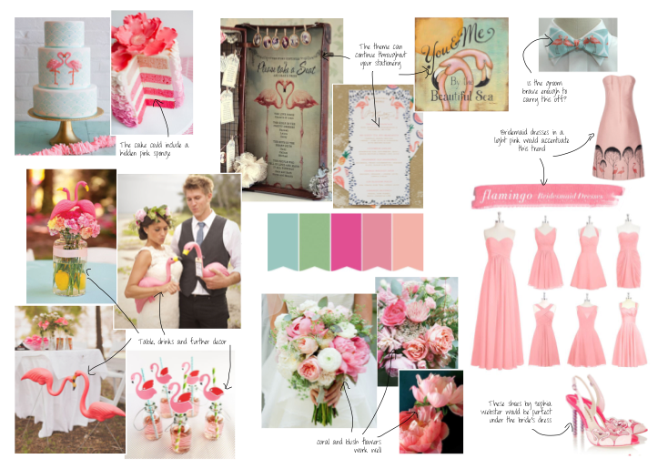 Flamingos wedding mood board styling ideas