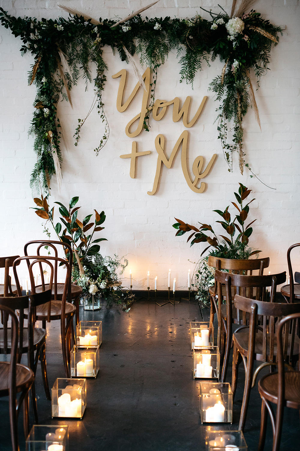 quote mural wedding ceremony backdrop