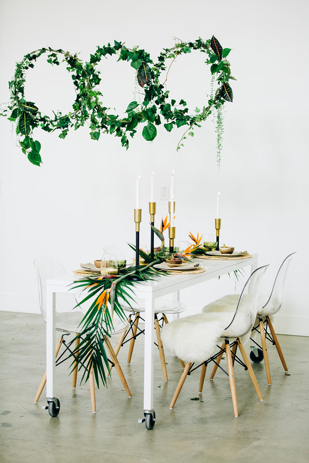 tropical wedding table with greenery