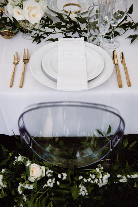 Greenhouse wedding reception place setting