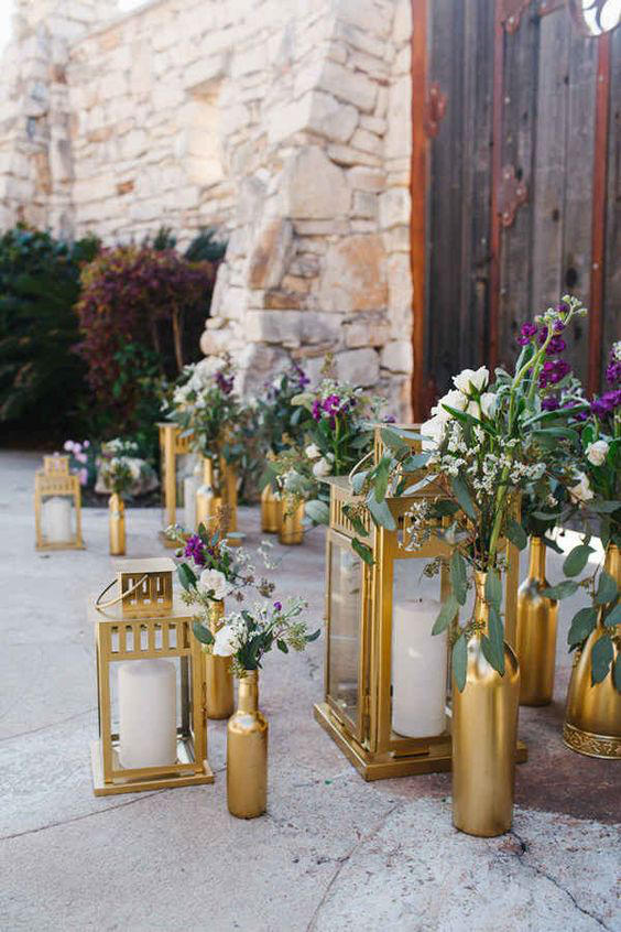Edgy Lighting Ideas for Your Wedding gold lantern styling