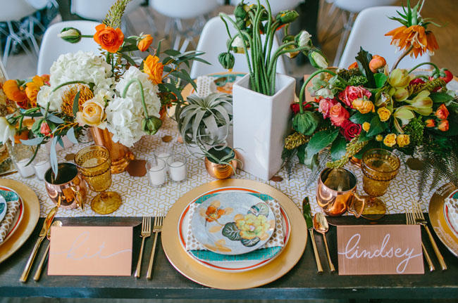 retro urban wedding table display