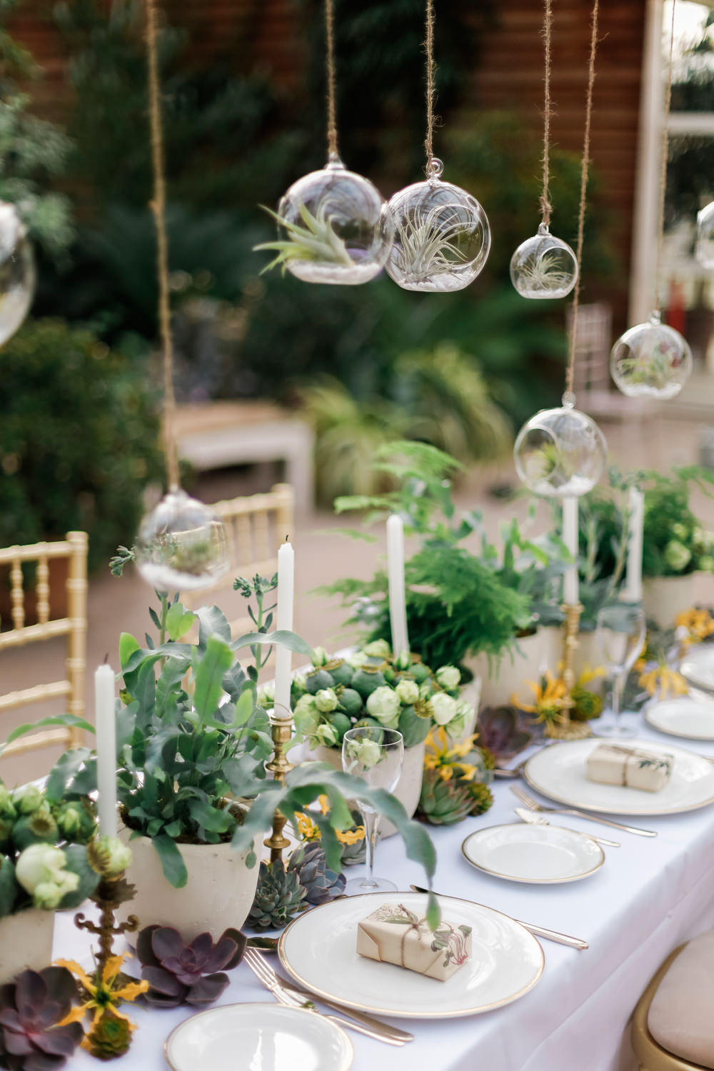 greenhouse wedding table setting