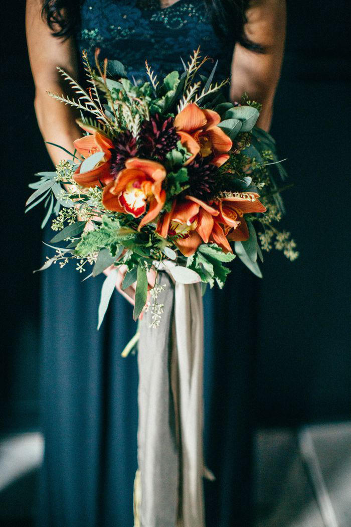 teal and copper wedding bouquet