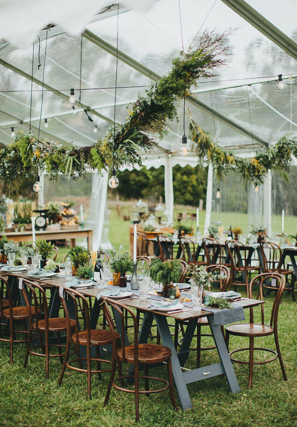 industrial wedding vintage greenery hanging installation