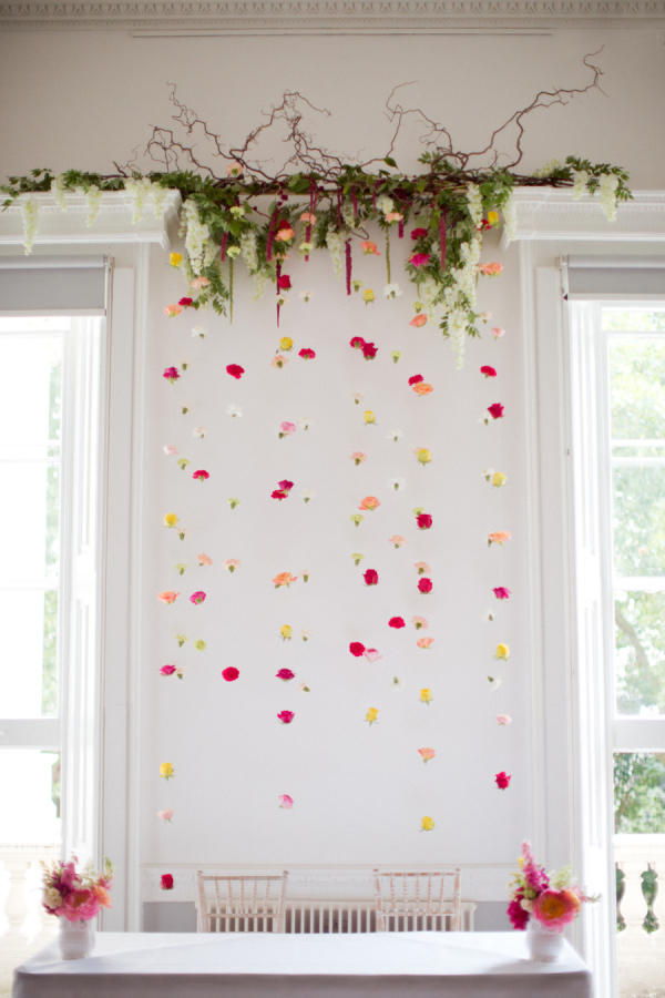 simple floral natural wedding hanging installation