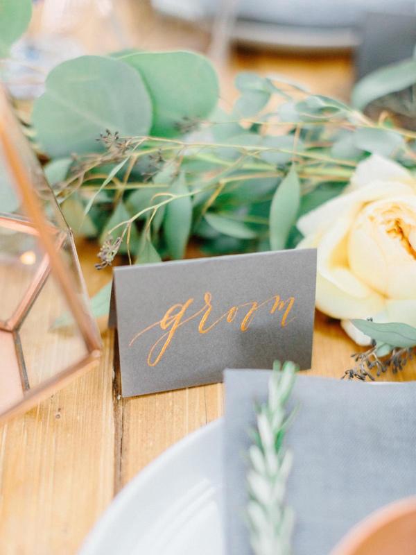 colour schemes copper and grey wedding stationery
