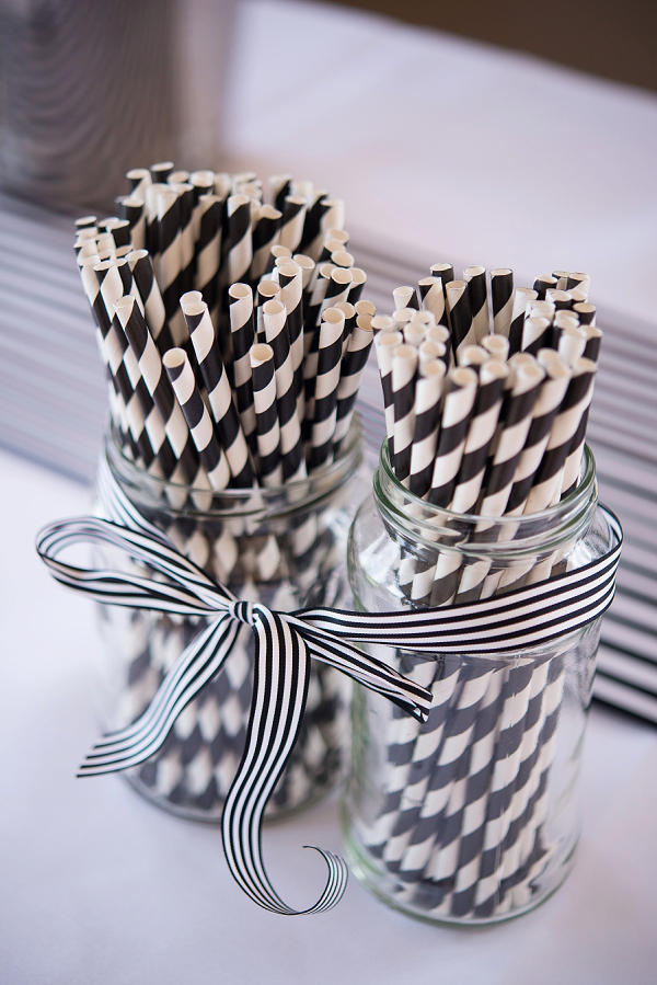 monochrome wedding paper straws styling