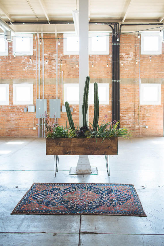 Wedding dance-floor cacti display idea