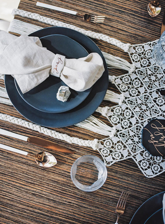 monochrome wedding table styling with macrame