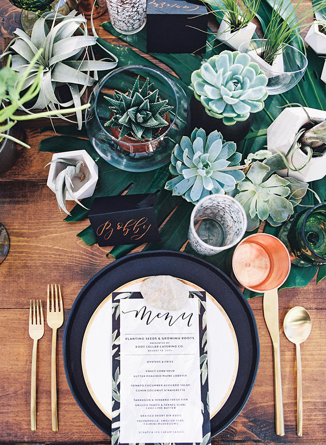 wedding succulents table arrangement