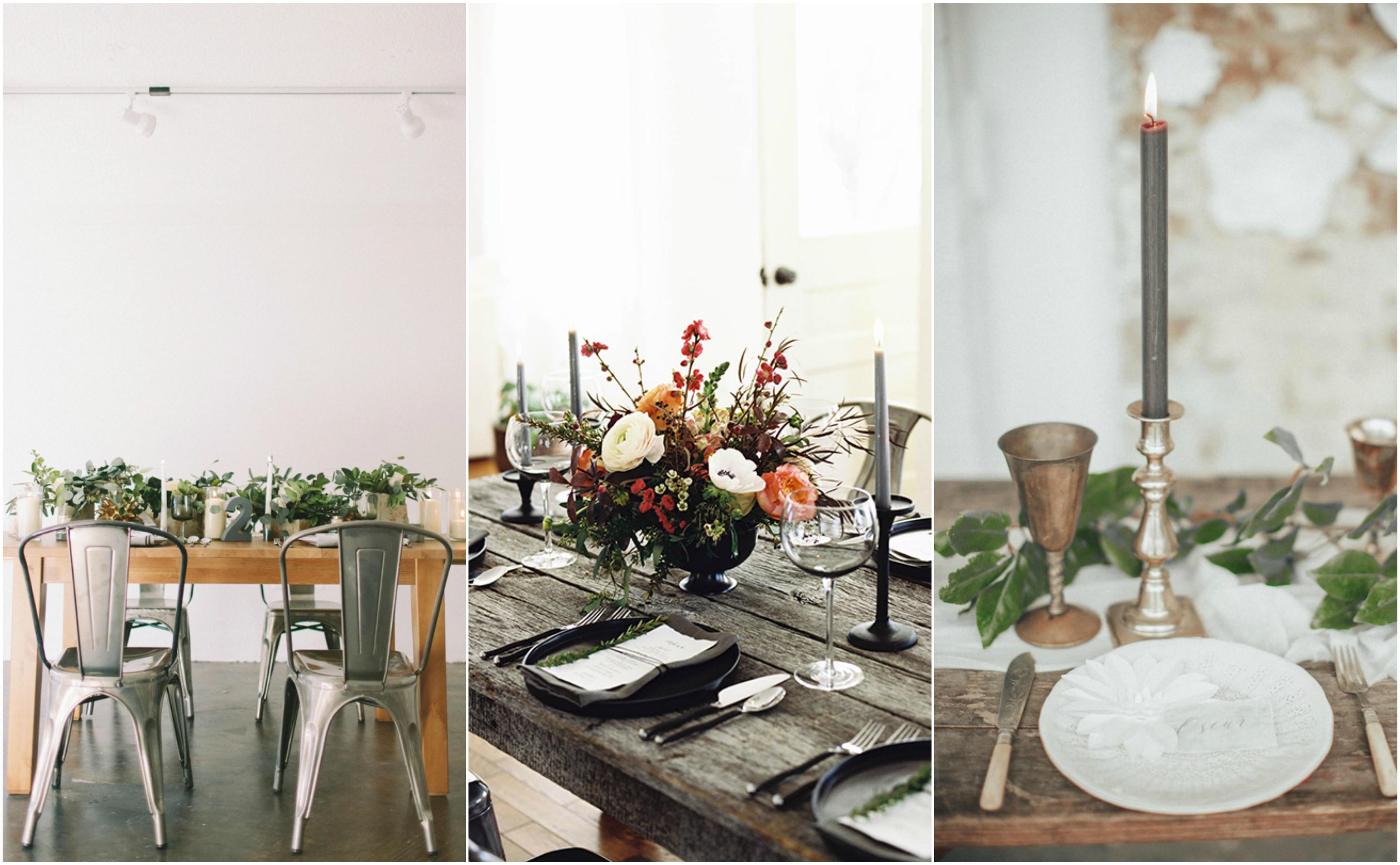 grey wedding table styling