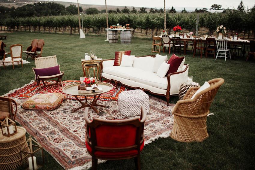 Urban Boho Wedding lounge area styling