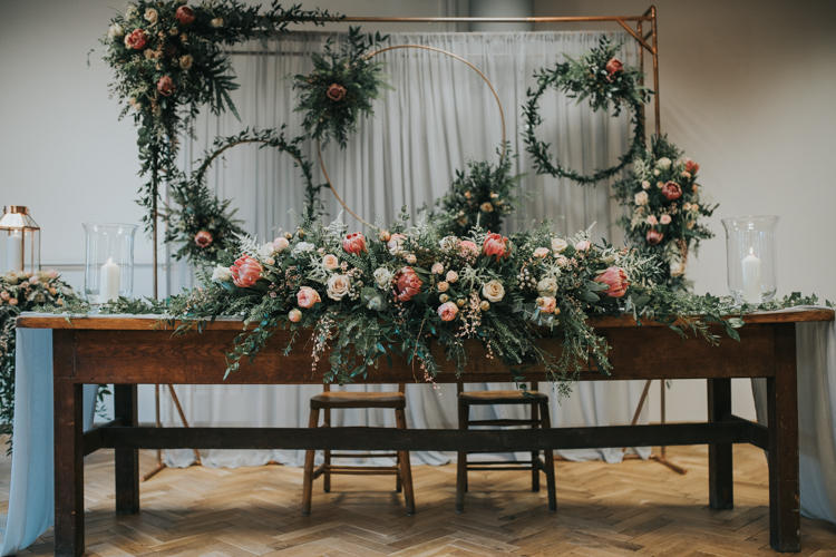 romantic industrial floral arrangements